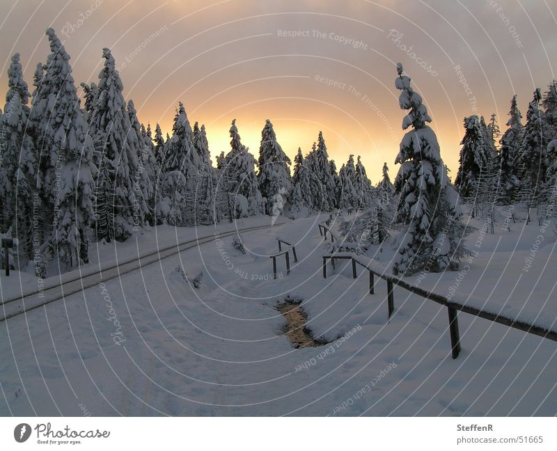 Sunset at Götheweg Winter Fragment the way of God Snow