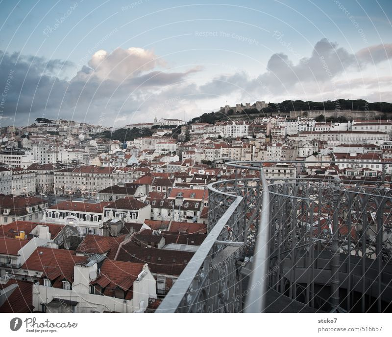 Blue City White Red Roof Balcony Downtown Capital city Lisbon