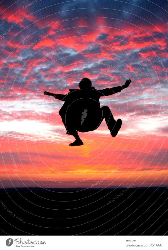 Sky Sun Red Clouds Jump Style Freedom Orange Flying Tall Dynamics Dusk Heavy Detached