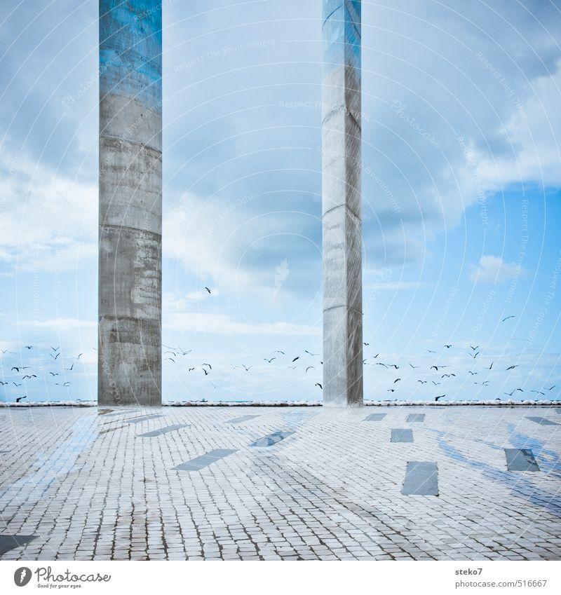 SECOND Places Architecture Esthetic Town Blue Gray End Horizon Column Lisbon Sculpture Colour photo Exterior shot Abstract Deserted Copy Space bottom