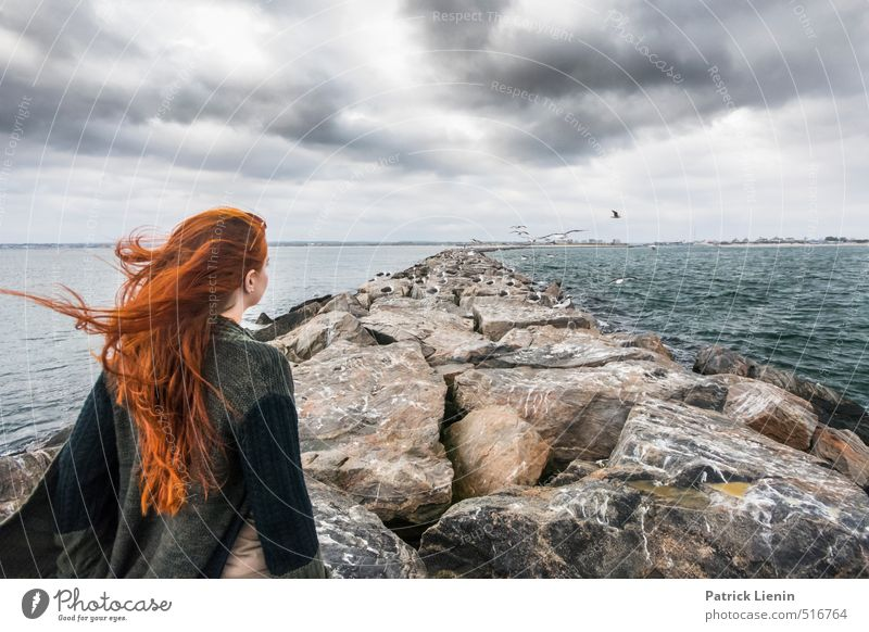 Hide and Seek Human being Nature Plant Ocean Relaxation Loneliness Landscape Clouds Environment Feminine Coast Hair and hairstyles Head Moody Waves Climate