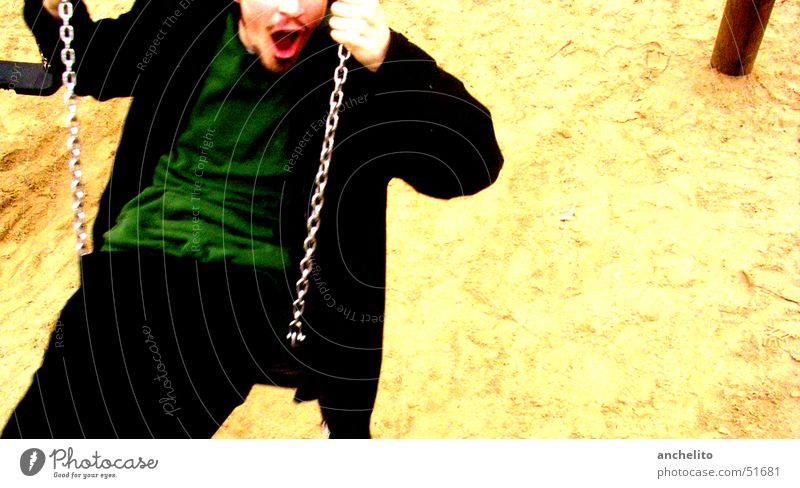 Human being Man Beautiful Joy Playing Movement Sand Electricity Action Wing To hold on Facial hair To enjoy Noble Swing Playground
