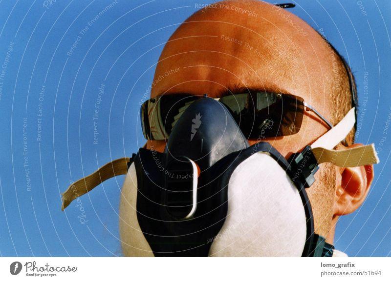 Man Dark Graffiti Artist Blue sky Investigate Tagger Respirator mask Appraise