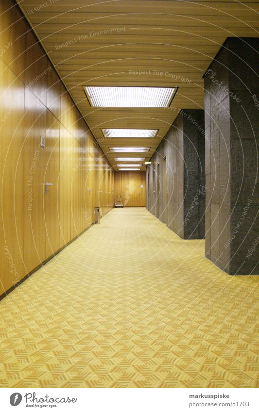 aisle into the void Carpet Retro Style Seventies Beige Brown Yellow Light Wood Public agencies and adminstrations Mask Marble Perspective Corridor