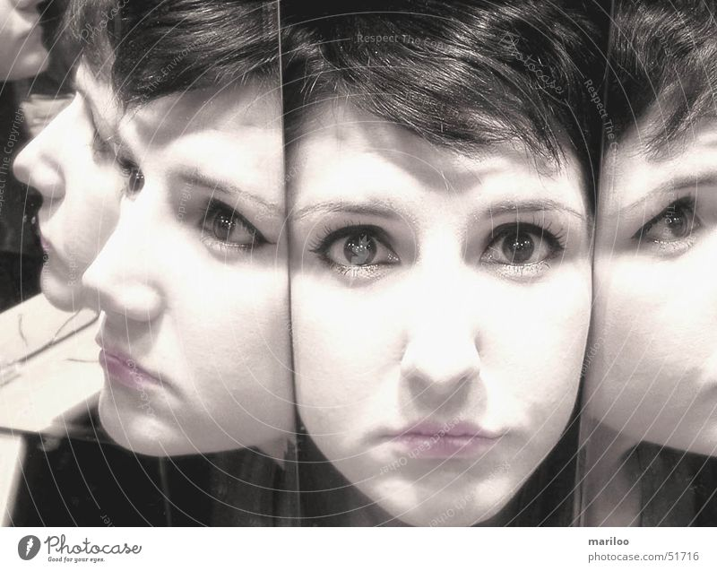 Woman Human being Face Eyes Emotions Mouth Fear Art Skin Nose Modern Mirror Wild animal Still Life Motionless Mirror image