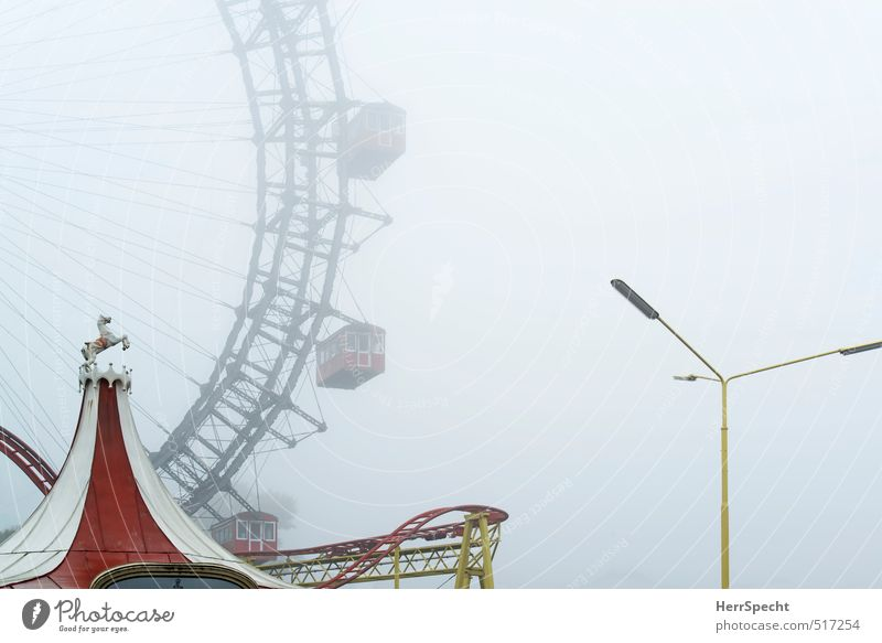 Vacation & Travel Old Beautiful White Red Yellow Sadness Autumn Fog Gloomy Closed Trip Esthetic Historic Street lighting Manmade structures