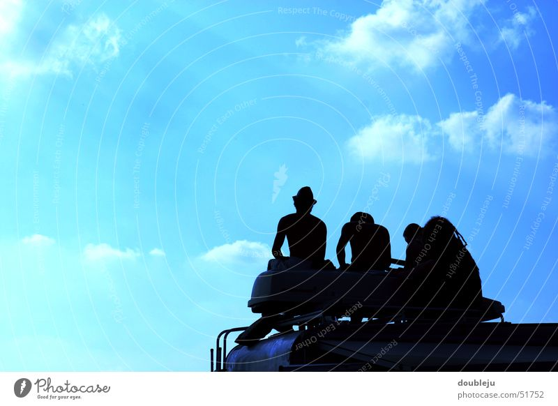 Human being Sky Summer Clouds Relaxation Friendship Vantage point Camping Music festival Caravan Concert Outdoor festival