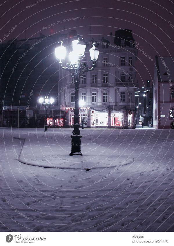 Blue City Loneliness Winter Calm Dark Snow Lamp Germany To go for a walk Village Lantern Seasons Wiesbaden