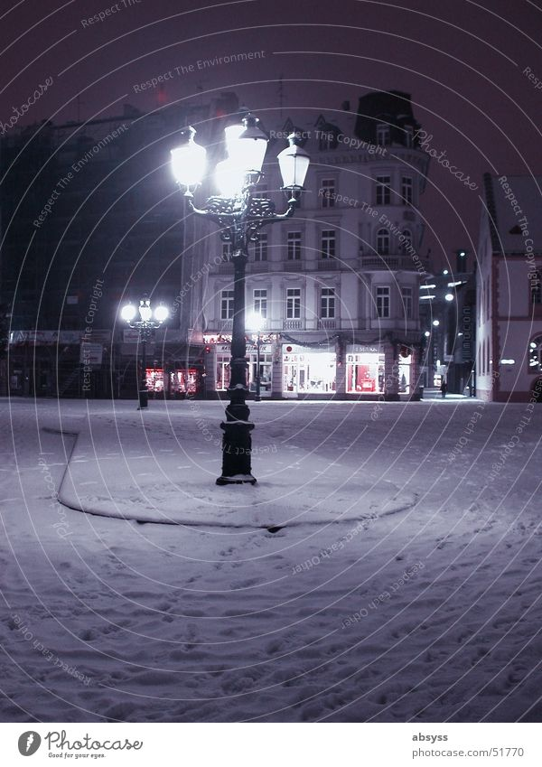 Silent night ... Town Wiesbaden Night Light Lantern Lamp Dark Winter Seasons Loneliness Germany Village Blue Snow Calm To go for a walk towns season quiet