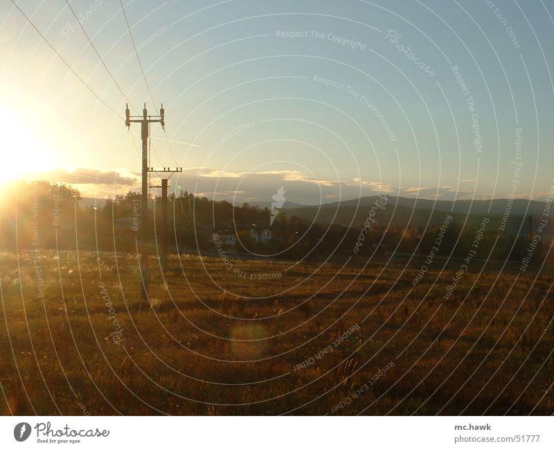 Sun Autumn Meadow Cable October Czech Republic Budvar