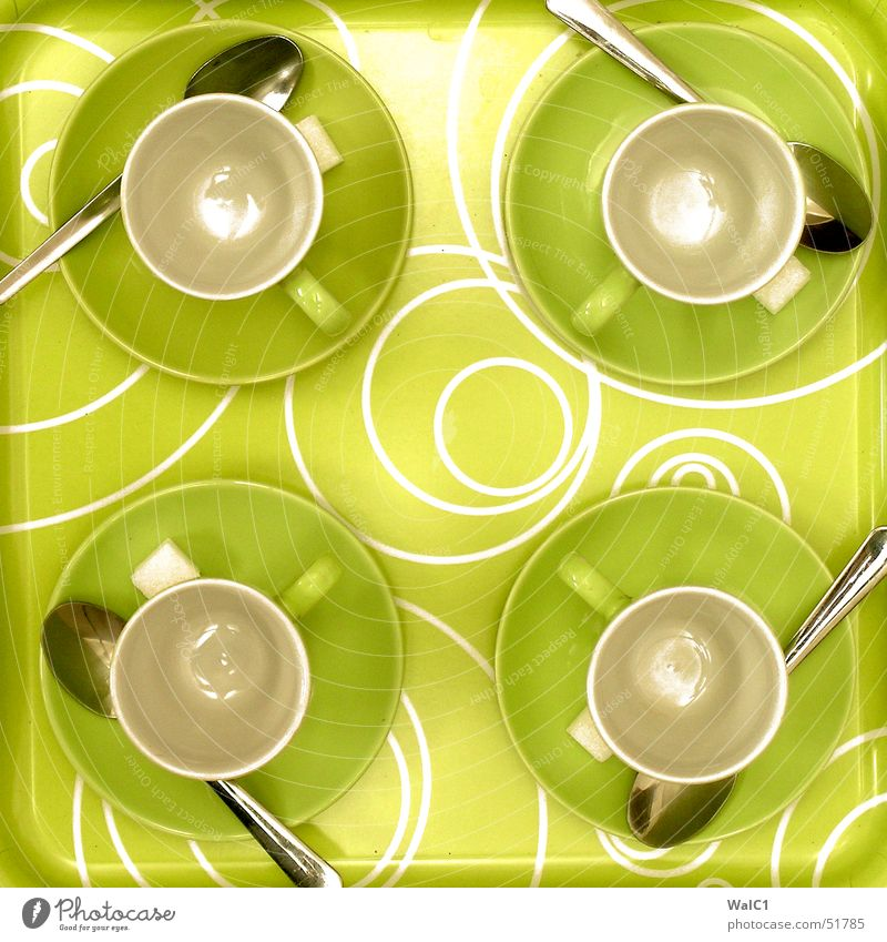 Green Circle Coffee Break 4 Café Cup Door handle Sugar Cutlery Spoon Production Pottery Proffer Tray