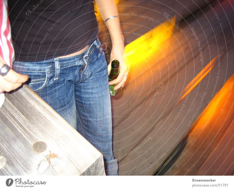 Beer at night Bar Summer Woman Top Jeans Loneliness yellow light Stairs