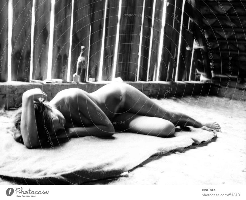 Woman Nude photography Naked Sleep Attic Black & white photo
