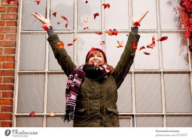 Human being Woman Child Nature Youth (Young adults) Red Young woman Girl Joy Leaf 18 - 30 years Adults Environment Feminine Autumn Laughter
