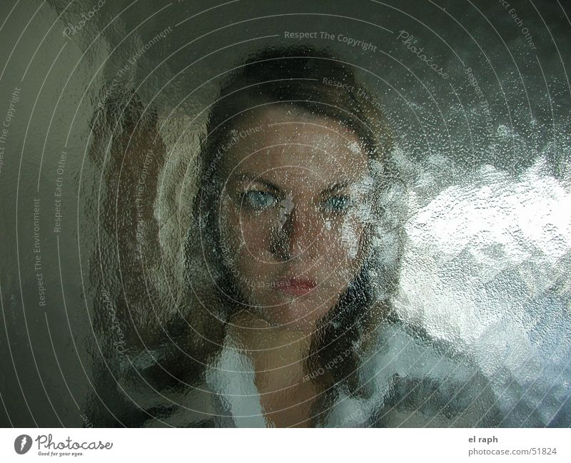 Woman Hide Backwards Disturbed Frosted glass Glass door