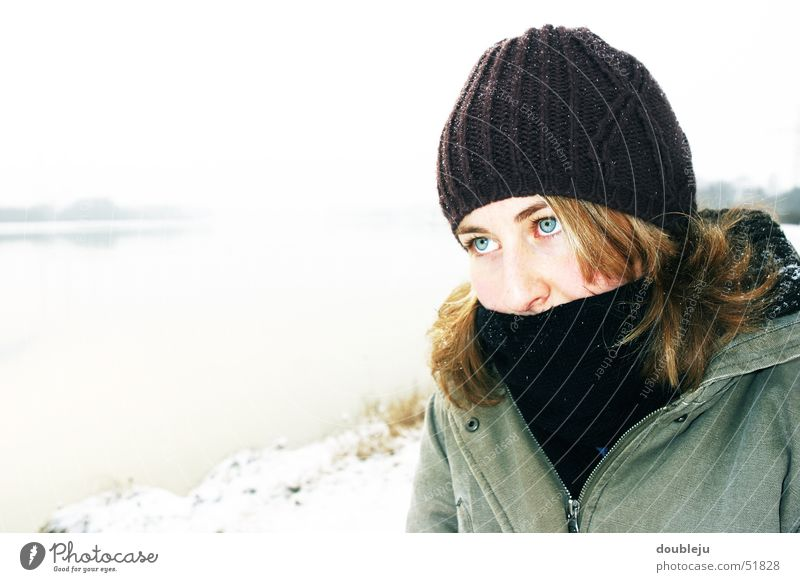 andrea in winter #2 Winter Cap Jacket Scarf Cold Portrait photograph Water Danube