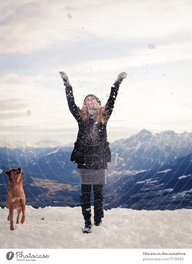 Dog Woman Vacation & Travel Youth (Young adults) Beautiful Landscape Young woman Joy Winter Far-off places 18 - 30 years Adults Environment Mountain Life