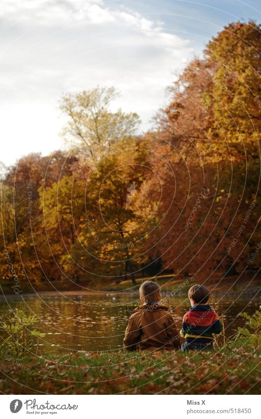 Two in autumn Leisure and hobbies Fishing (Angle) Trip Adventure Child Toddler Brothers and sisters Family & Relations Friendship 2 Human being 1 - 3 years