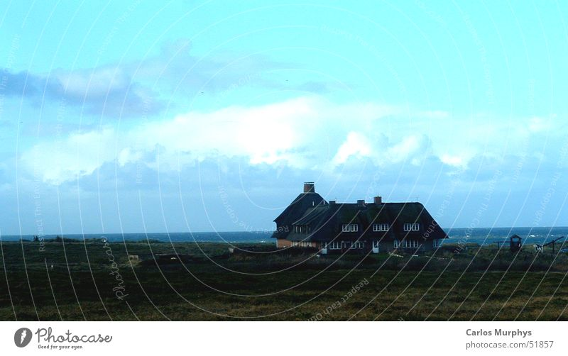 There is a house... Clouds Turquoise House (Residential Structure) Ocean Sylt Calm November Autumn Sky Reet roof Meadow Blue Beach dune Freedom cloud heaven sea