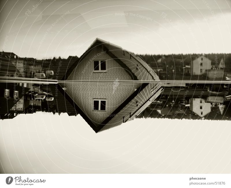Sky City House (Residential Structure) Window Car Germany Europe Roof Village Chimney Sepia Mobile home Monochrome Caravan Settlement