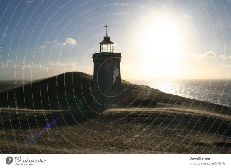 Water Sun Blue Clouds Sand Beach dune Lighthouse Baltic Sea Denmark