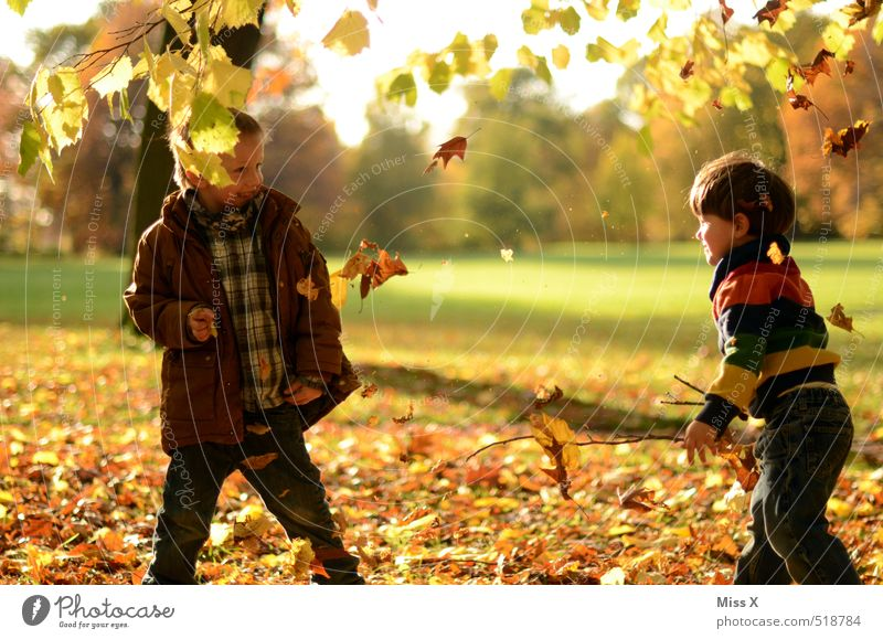 Human being Child Nature Joy Leaf Meadow Emotions Autumn Playing Laughter Garden Friendship Moody Park Leisure and hobbies Infancy