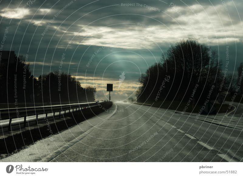 Sky Clouds Dark Highway Luxemburg