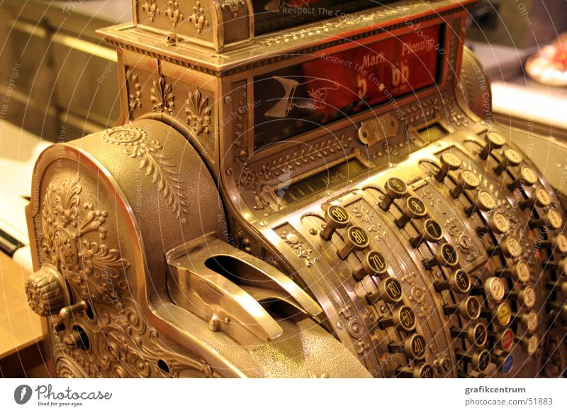 Old Gold Digits and numbers Ancient Cash register Old fashioned