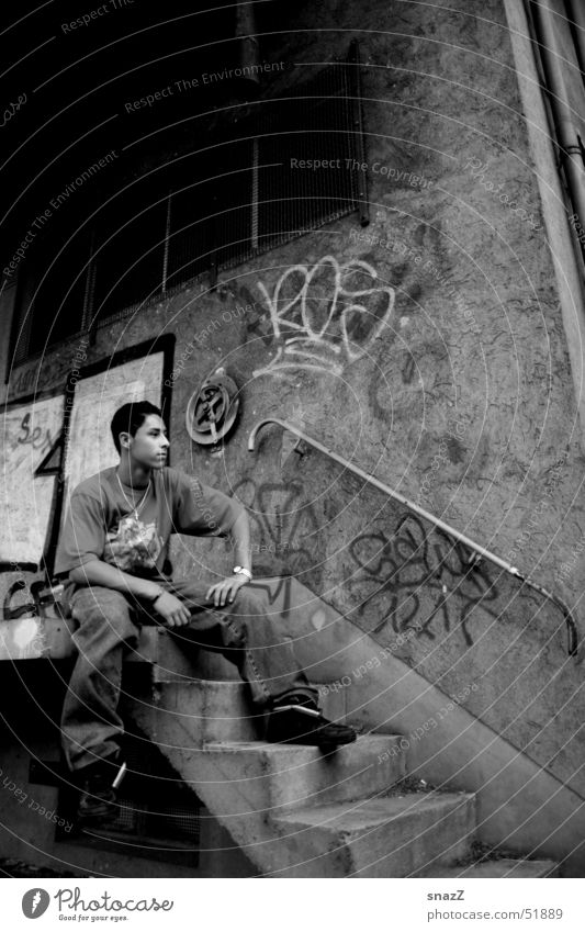 Man White Black Dark Sit Stairs Handrail