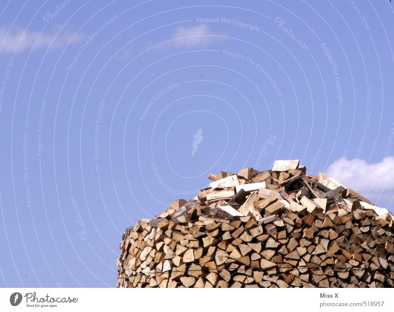 pile of wood Garden Sky Clouds Beautiful weather Wood Dry Farm Forestry Firewood Stack of wood Supply Fuel Heap Woodcutter Colour photo Exterior shot Deserted