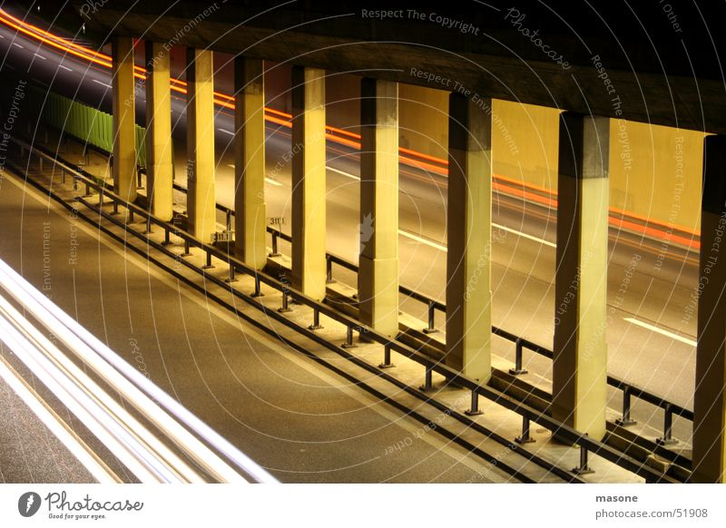 *woosh* Concrete Tunnel Light Highway Speed Red White Long exposure Column Fence Architecture