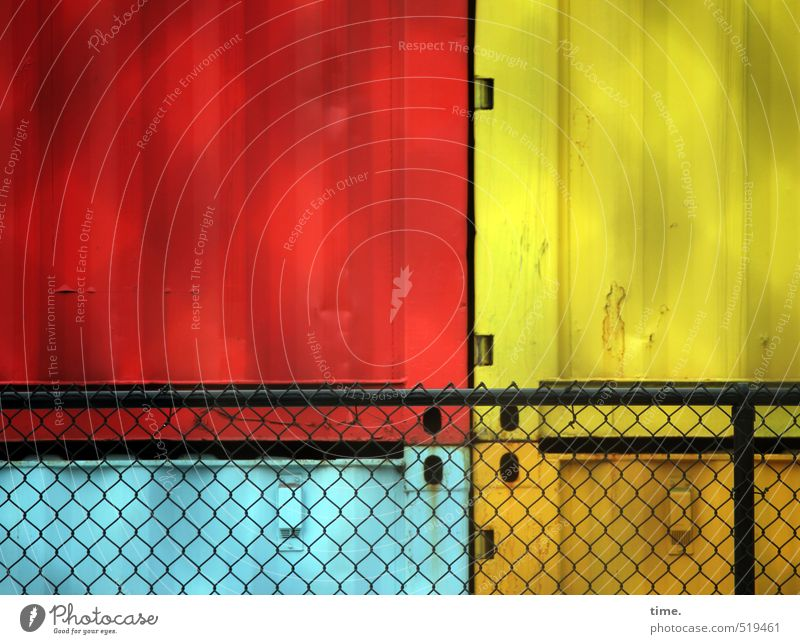 Blue Red Yellow Metal Art Work and employment Together Orange Arrangement Closed Safety Protection Construction site Fence Attachment Services