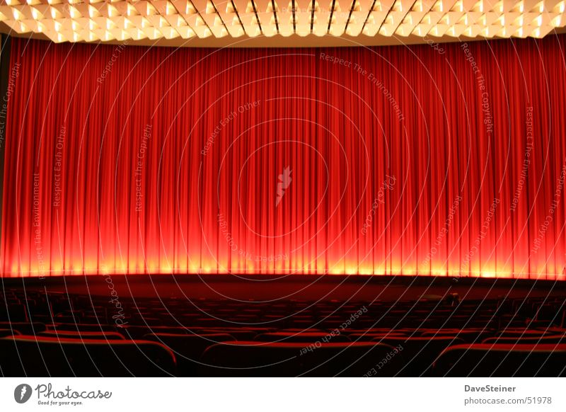 auditorium Cinema Hall Dresden Red Light Stage Closed Palace Drape Shows Theatre