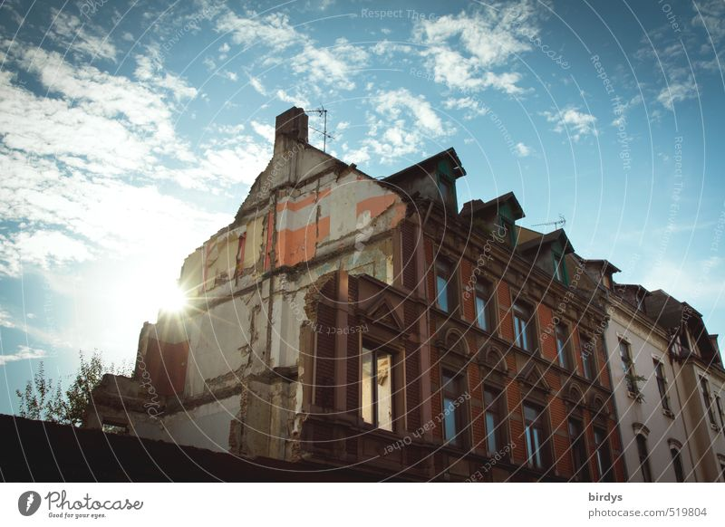 demolition atmosphere Sky Clouds Sunlight Duisburg Old town Ruin Building Glittering Authentic Broken Original Bizarre Apocalyptic sentiment Survive Town
