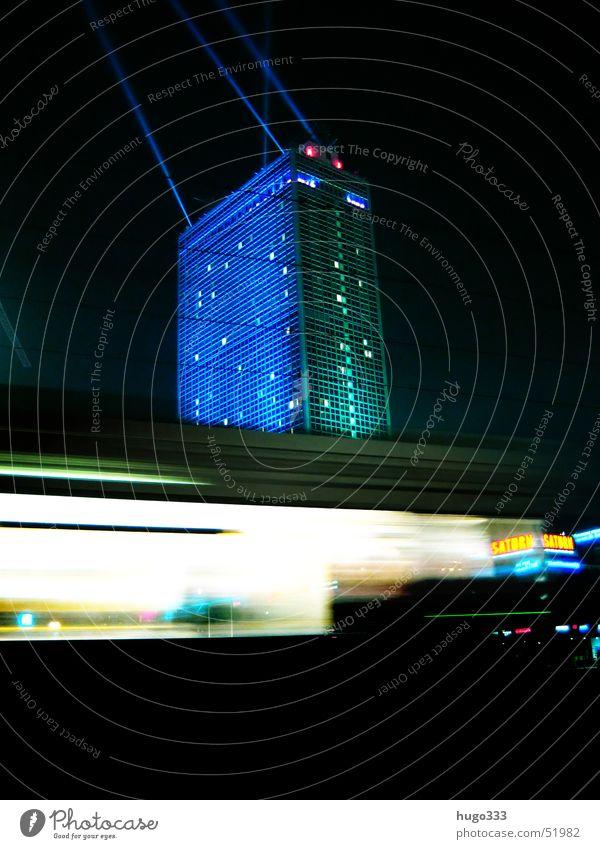 Attention, one lane! 3 Alexanderplatz Light Illumination Night sky Tram Speed Long exposure Public transit Customer Driving Pedestrian precinct Railroad tracks