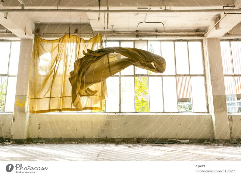 Dance Gone with the Wind Industrial plant Factory Ruin Window Drape Curtain Hover Judder Blown away Back draft Movement To fall Flying Free Ease Transience