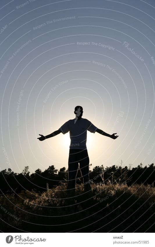 Sky Man Beautiful Sun Forest Freedom Graffiti Grass Religion and faith Bright Lighting Arm God Deities Responsibility