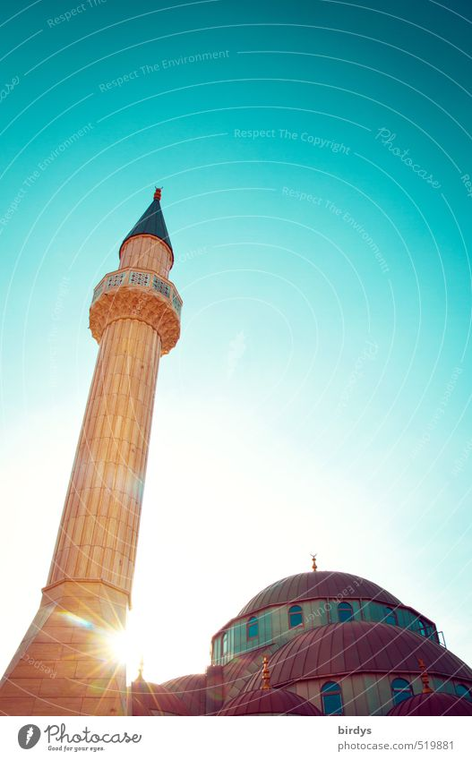Mosque in the light Cloudless sky Sunlight Summer Beautiful weather Tower Minaret Tourist Attraction Esthetic Bright Tall Positive Point Warmth Yellow Turquoise