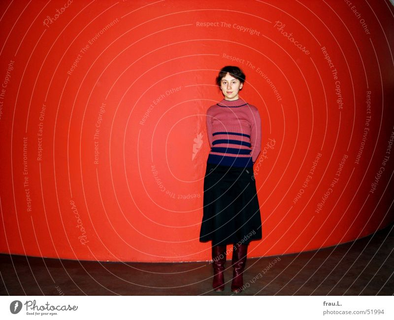 Woman Human being Red Joy Wall (building) Clothing New Round Stand Posture Stripe Delicate Boots Sweater Pride