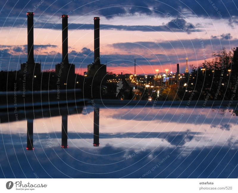 View from my skylight Transmitting station Sunset Architecture Berlin Electricity generating station Evening
