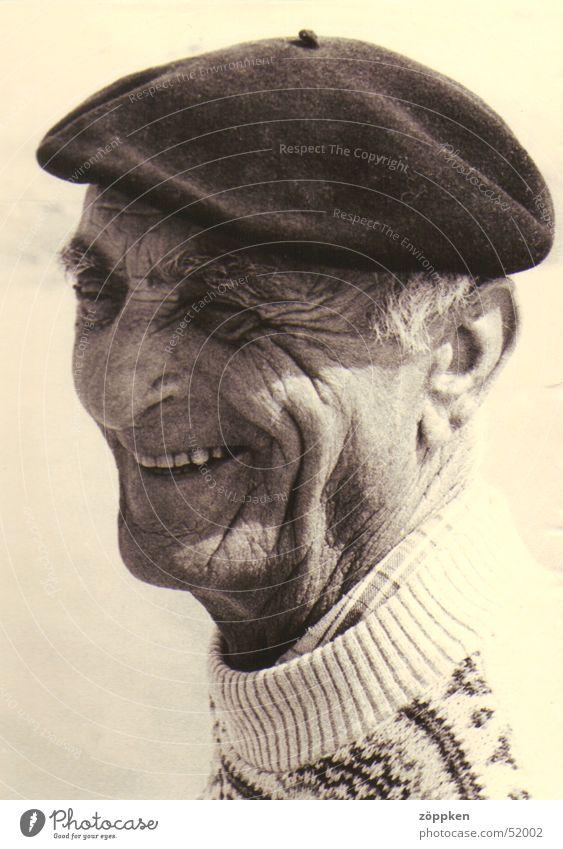 Man Senior citizen Laughter Wrinkles Sweater French Beret Male senior