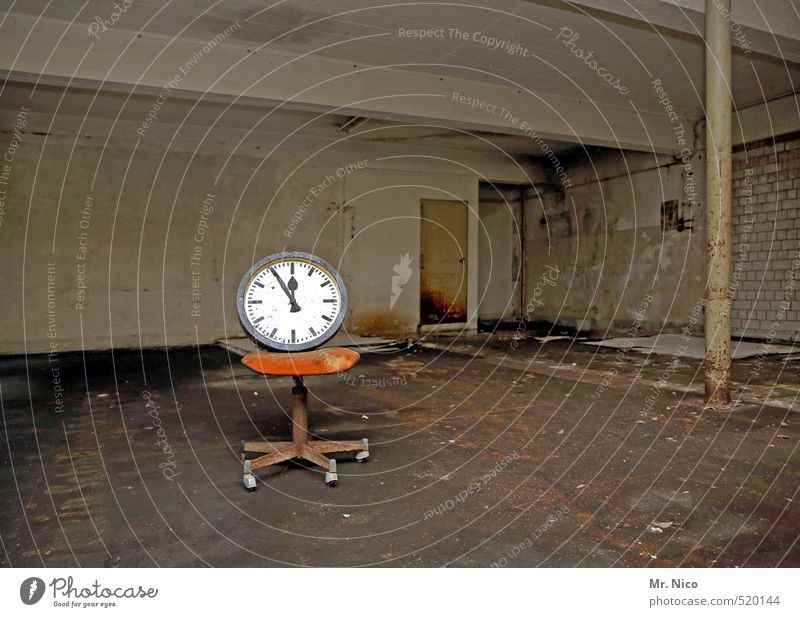 Old Dark Wall (building) Wall (barrier) Building Time Room Dirty Clock Gloomy Empty Change Digits and numbers Sign Chair Factory