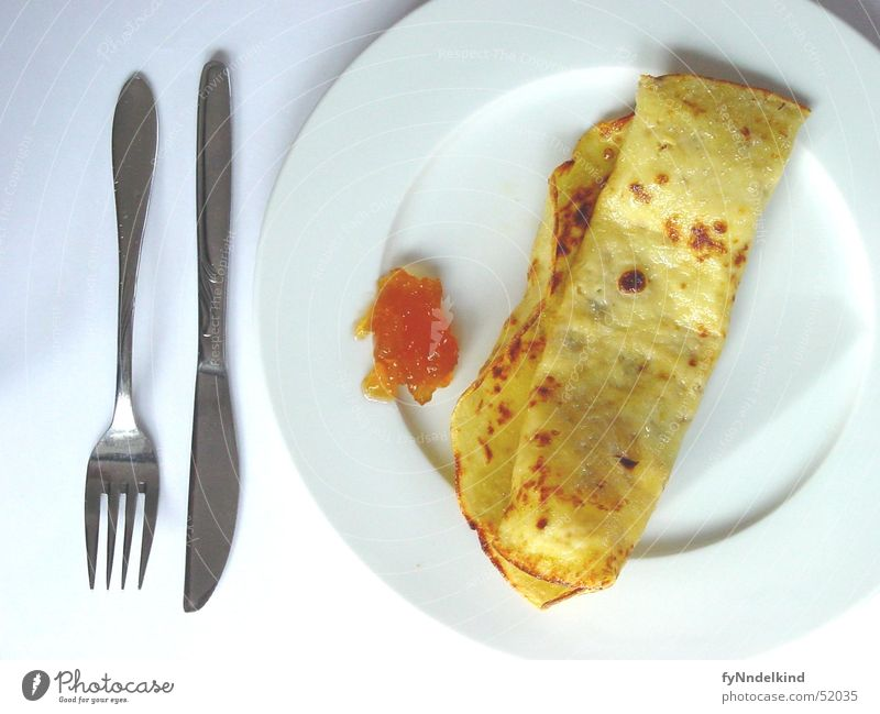 Tuesdays mornings Pancake Breakfast Jam Cutlery Plate Sweet Yellow Golden brown White Nutrition