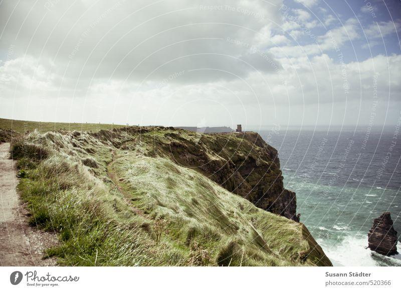 Cliffs of Moher Nature Landscape Sky Sun Bushes Meadow Rock Waves Coast Ocean Island Hiking Wind Grass Ireland White crest Rough Atlantic Ocean Footpath