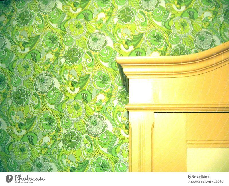 Old Flower Green Wall (building) Wallpaper Ornament Cupboard Built-in closet Wall cupboard