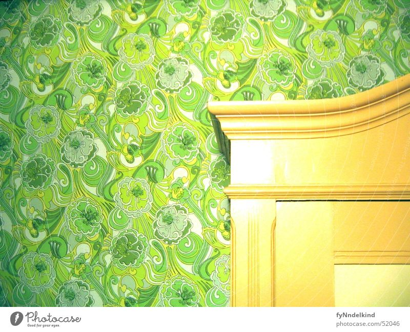 Wall cabinet Wall (building) Cupboard Wall cupboard Built-in closet Wallpaper Pattern Green Flower Ornament Old