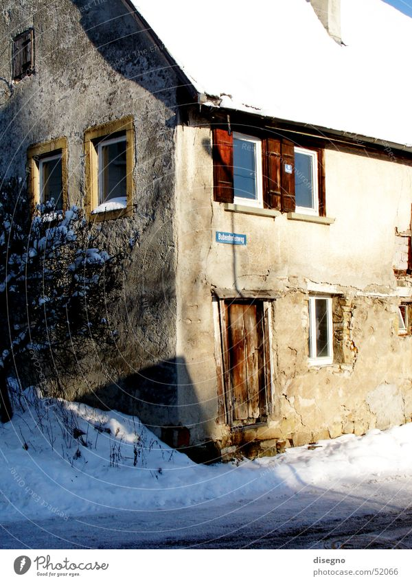 House (Residential Structure) Snow Window Building Village Ruin Shutter Tumbledown Preservation of historic sites