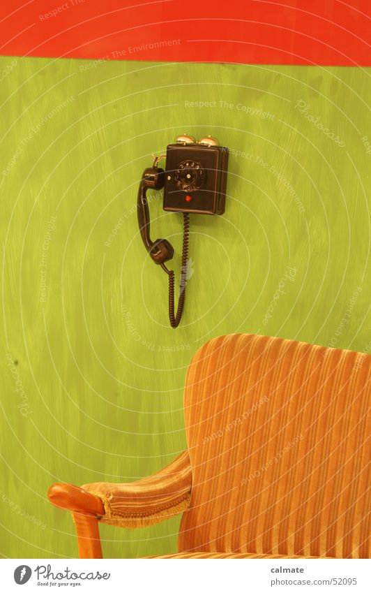 - retrophone I Lounge suite Telephone Digits and numbers Seating Rotary dial Analog Sofa Old phone old furniture Old fashioned cushion group