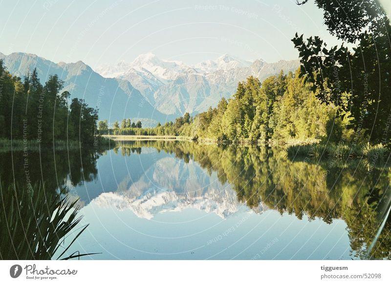 nature mirror New Zealand Mountain lake Mirror Nature Lake Matheson new zeeland mountains clear water jump water