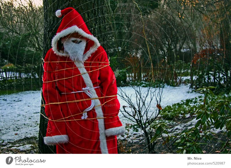 Kidnapped! Christmas & Advent 1 Human being Environment Nature Winter Snow Tree Coat Cap Beard Red Revenge Shackled Santa Claus Carnival costume Garden Punish